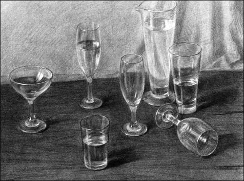 素描金属质感-立体静物组合