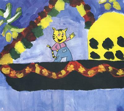 幼儿园图画我和妈妈放风筝