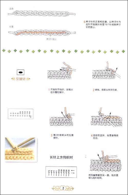基本针法钩针符号及其编织方法一辫子针和短针枣形针和圆锥针钩针符号